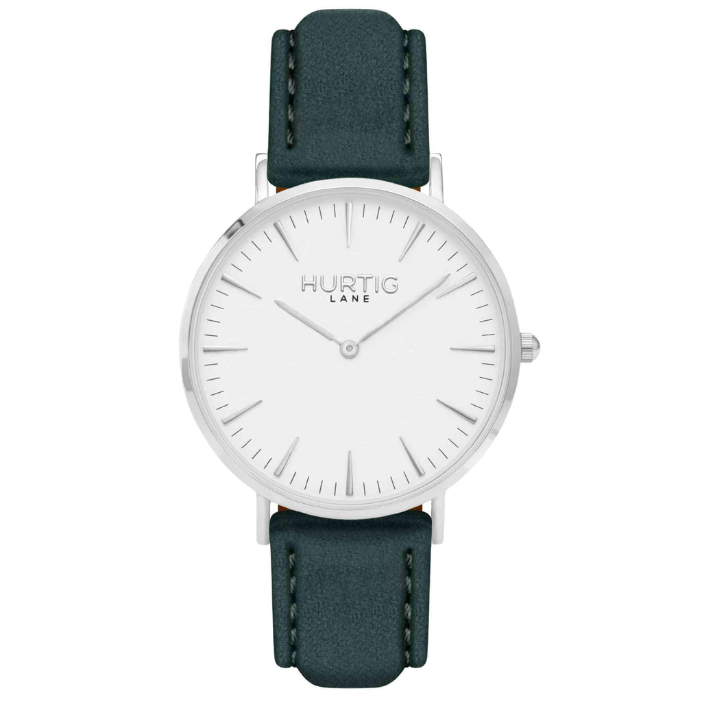 Hymnal Vegan Suede Watch Silver, White & Forest Green - Hurtig Lane - sustainable- vegan-ethical- cruelty free