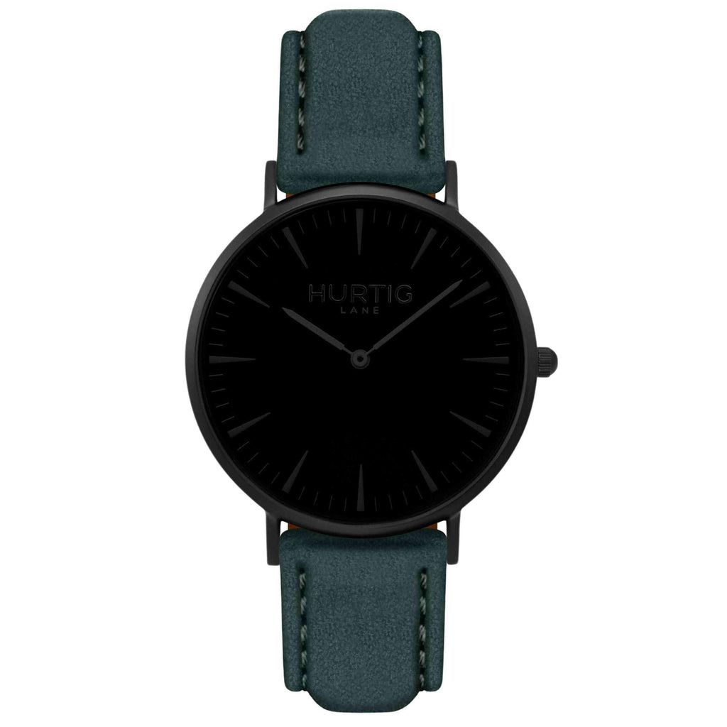 Hymnal Vegan Suede Watch All Black & Forest Green - Hurtig Lane - sustainable- vegan-ethical- cruelty free