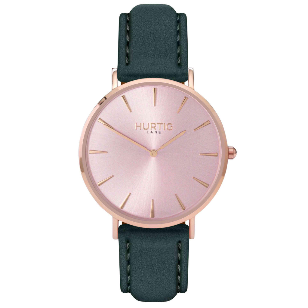 Hymnal Vegan Suede Watch All Rose Gold & Forest Green - Hurtig Lane - sustainable- vegan-ethical- cruelty free