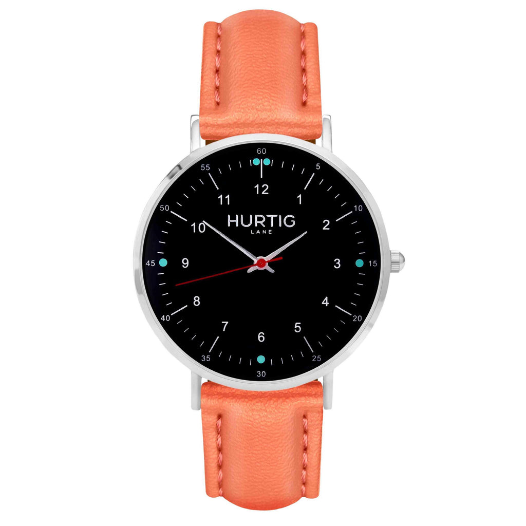 Moderna Vegan Leather Watch Silver, Black & Coral Watch Hurtig Lane Vegan Watches