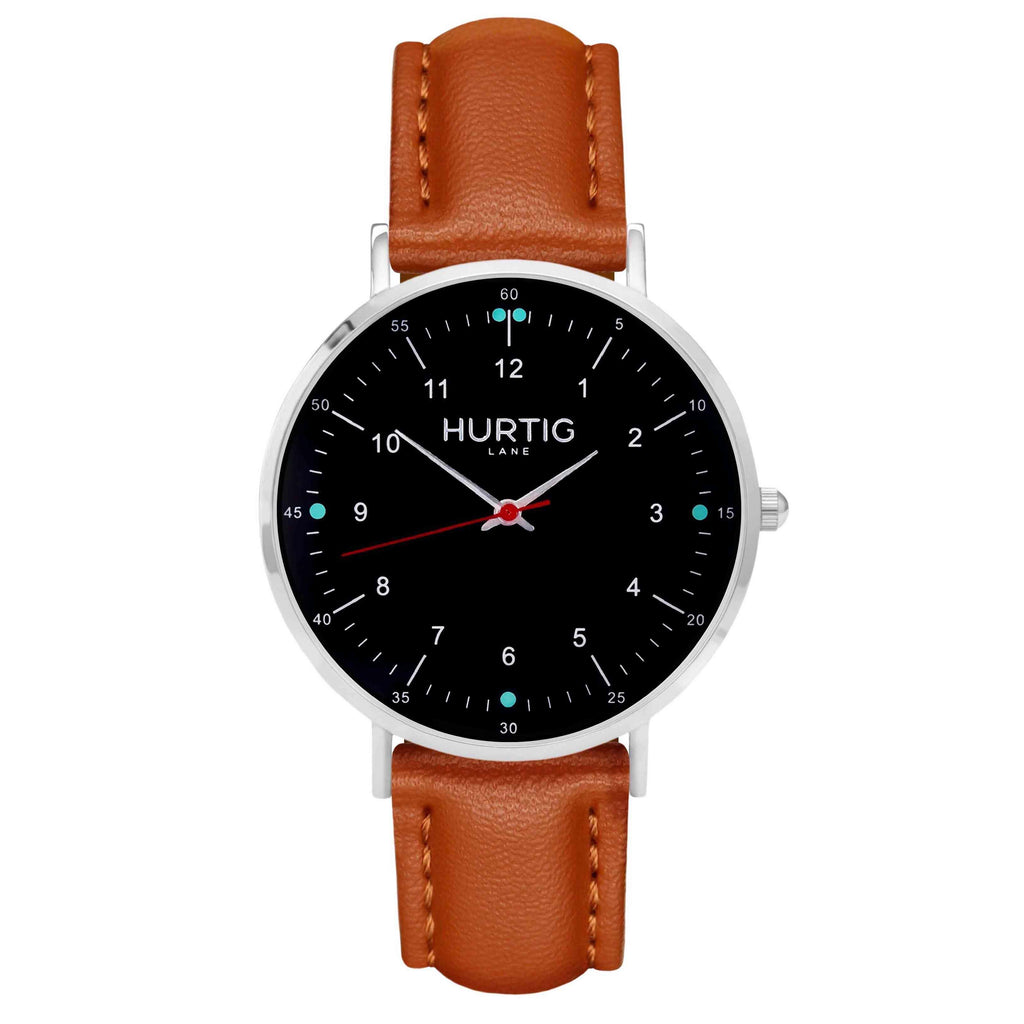 hurtig lane vegan leather watch silver,  black & tan vegane uhren