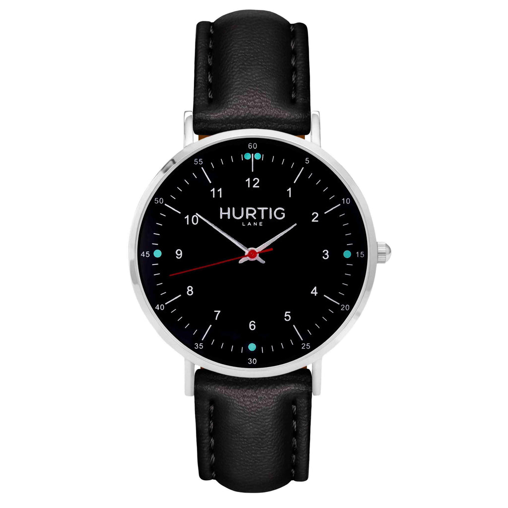 hurtig lane vegan leather watch silver,  black & black vegane uhren