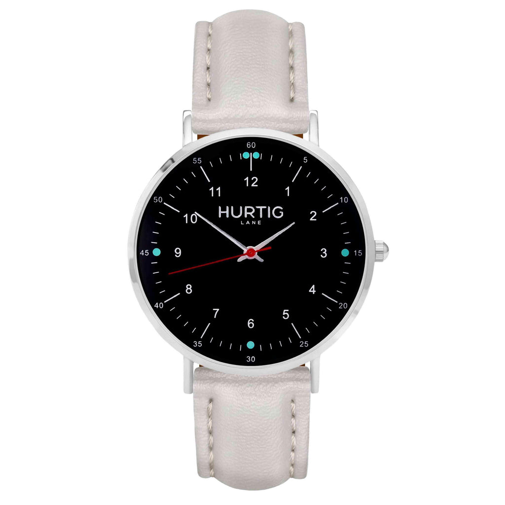 hurtig lane vegan leather watch silver,  black & cloud vegane uhren