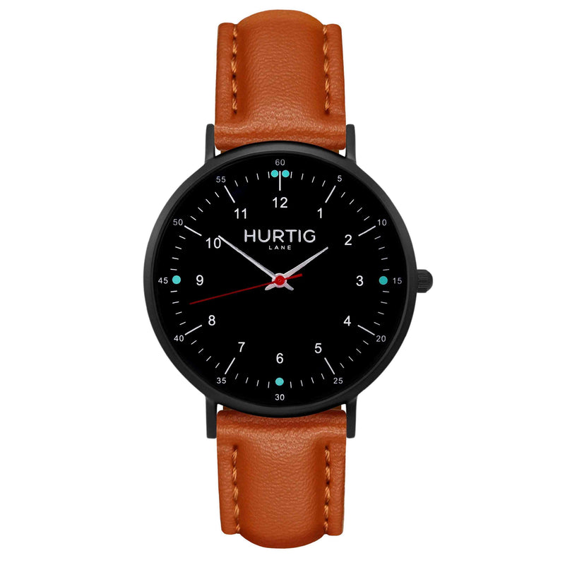 hurtig lane vegan leather watch black & tan vegane uhren