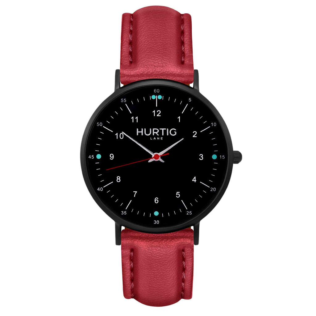 hurtig lane vegan leather watch black & red vegane uhren