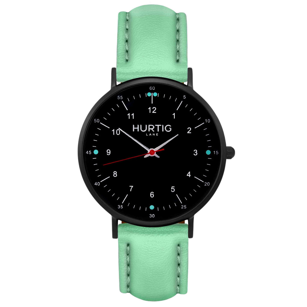 Moderna Vegan Leather Watch All Black & Mint Watch Hurtig Lane Vegan Watches