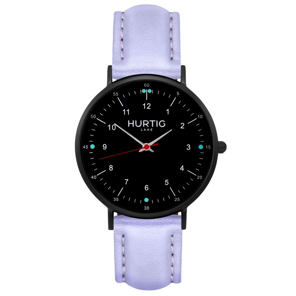 Moderna Vegan Leather Watch All Black & Lilac Watch Hurtig Lane Vegan Watches