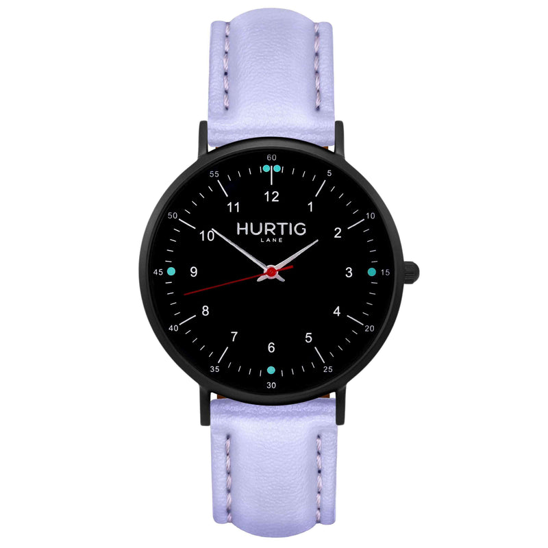Moderna Vegan Leather Watch All Black & Mint