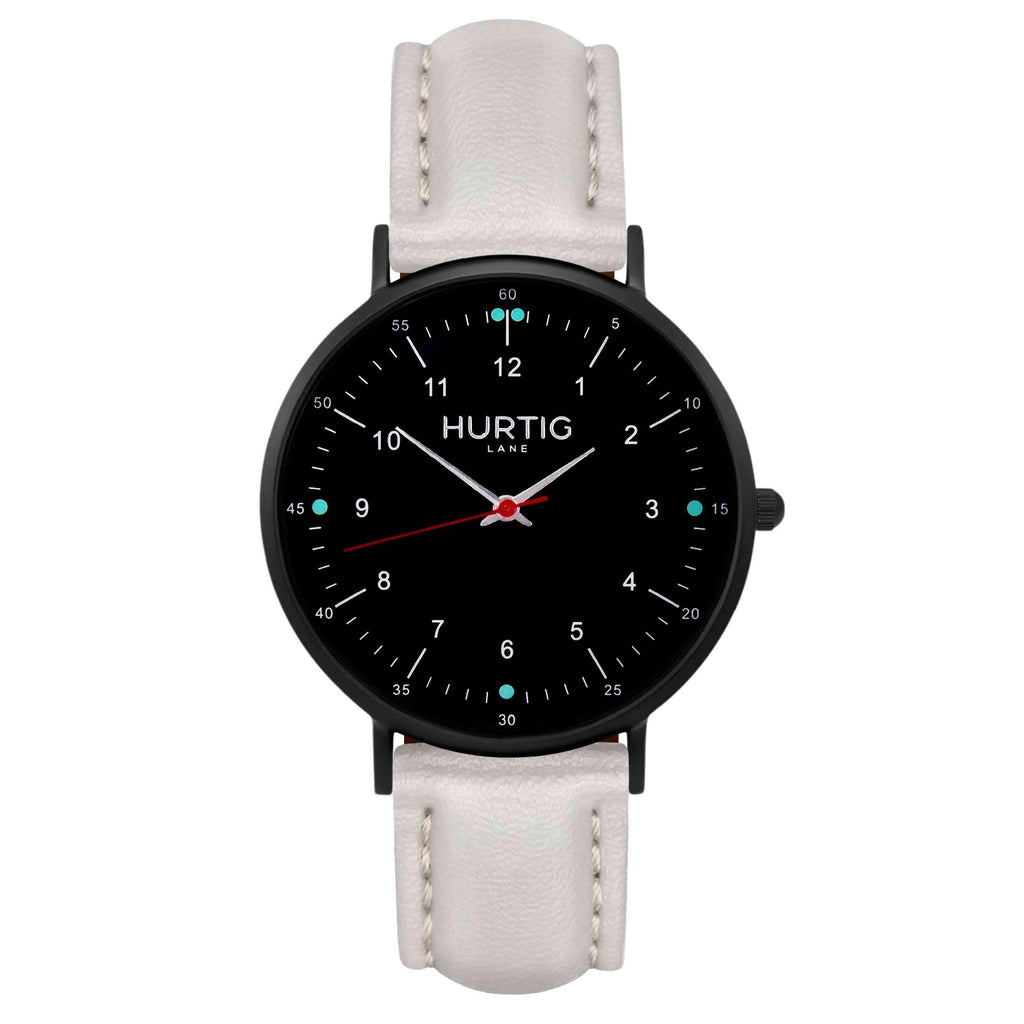 hurtig lane vegan leather watch black & grey vegane uhren