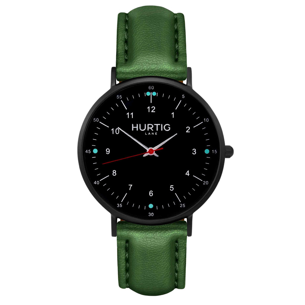 Moderna Vegan Leather Watch All Black & Green - Hurtig Lane - sustainable- vegan-ethical- cruelty free