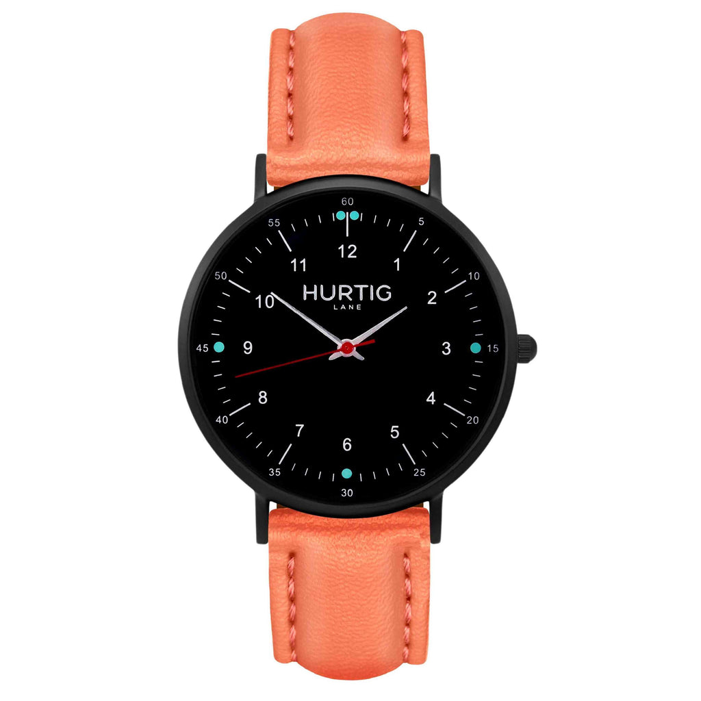 hurtig lane vegan leather watch black & coral vegane uhren