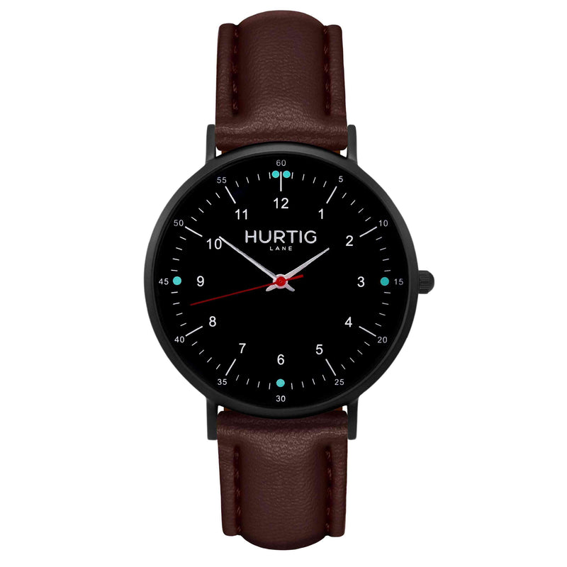 hurtig lane vegan leather watch black & dark brown vegane uhren