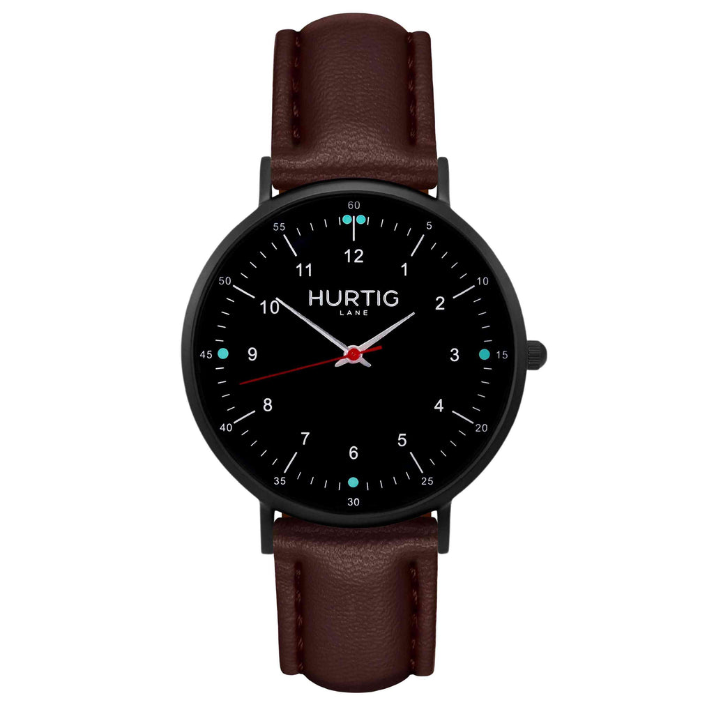 hurtig lane vegan leather watch black & chestnut vegane uhren