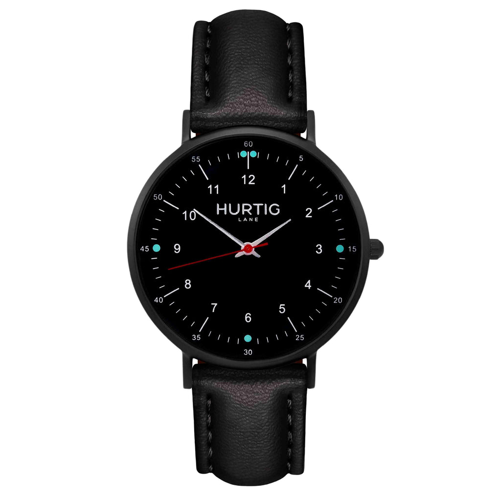 Moderna Vegan Leather Watch All Black & Black Watch Hurtig Lane Vegan Watches