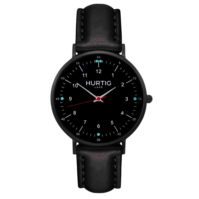 Moderna Vegan Leather Watch All Black & Cherry Red Watch Hurtig Lane Vegan Watches