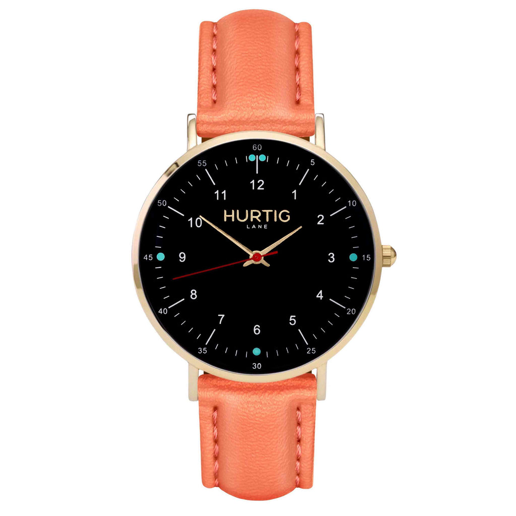 hurtig lane vegan leather watch gold,  black & coral vegane uhren