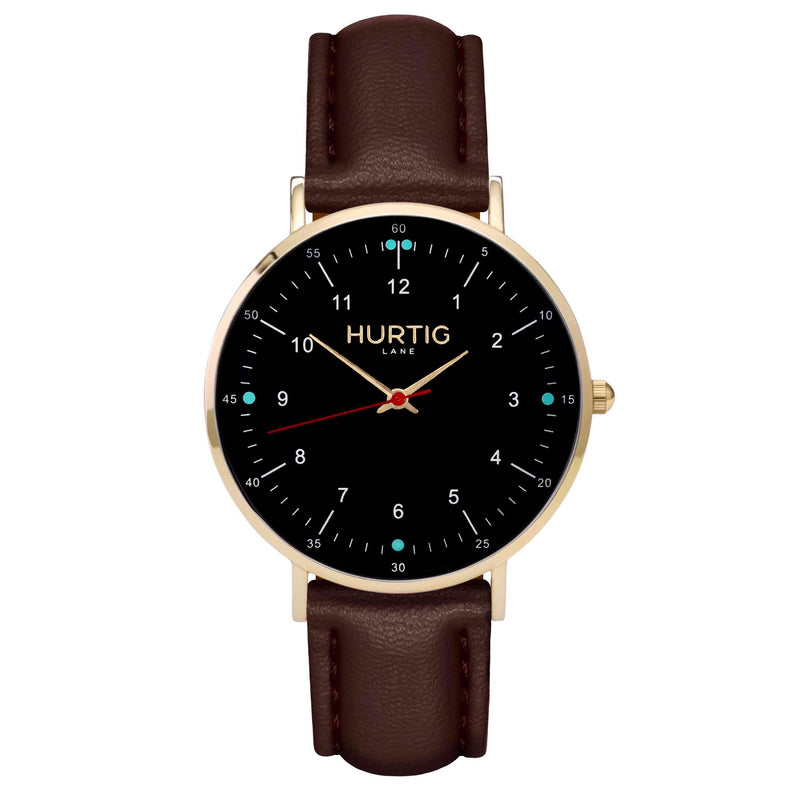 hurtig lane vegan leather watch gold,  black & chestnut vegane uhren