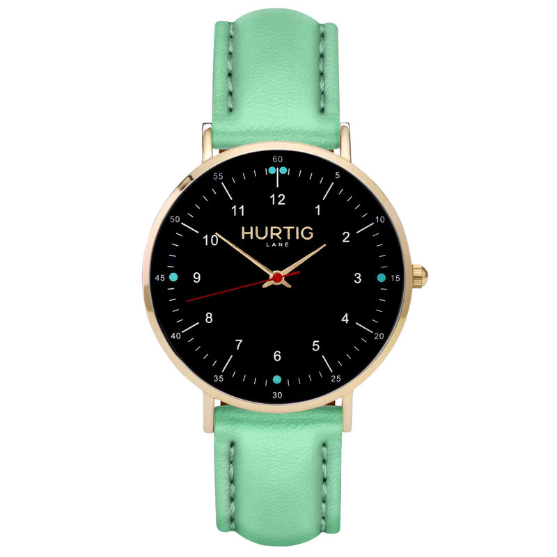 hurtig lane vegan leather watch gold, black & mint vegane uhren