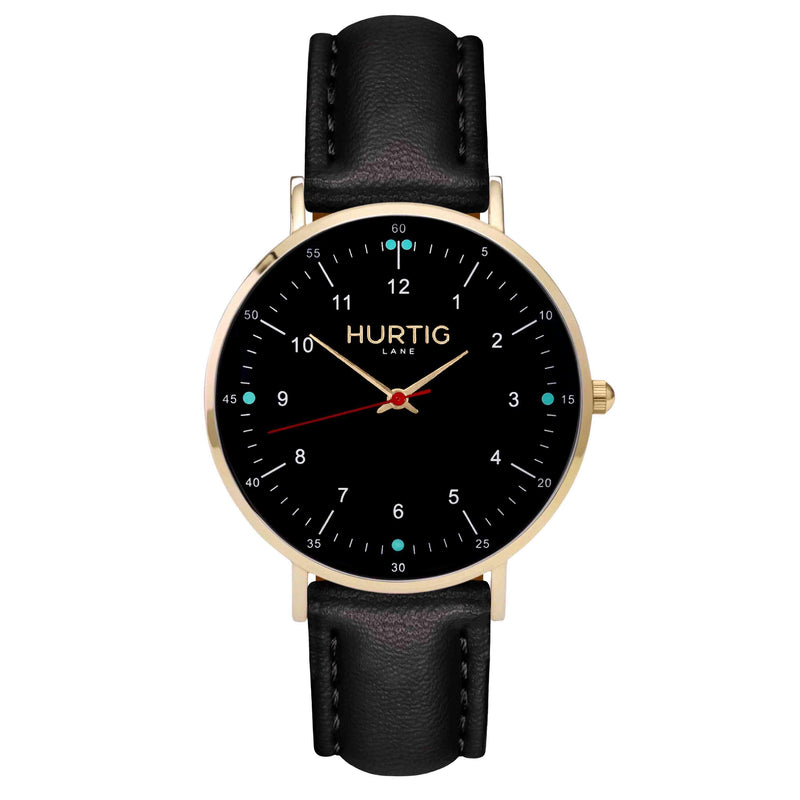 Moderna Vegan Leather Watch Gold, Black & Lilac - Hurtig Lane - sustainable- vegan-ethical- cruelty free