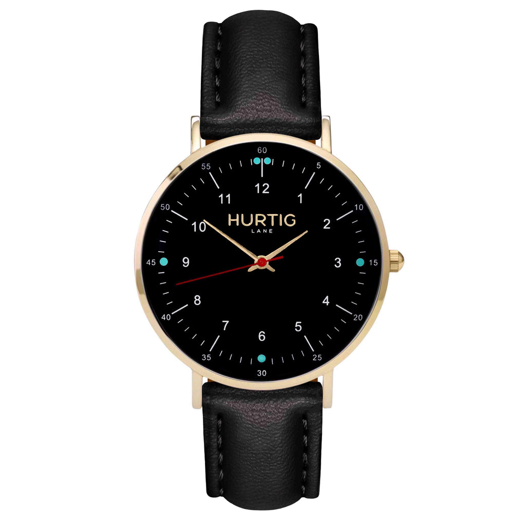hurtig lane vegan leather watch gold,  black & black vegane uhren