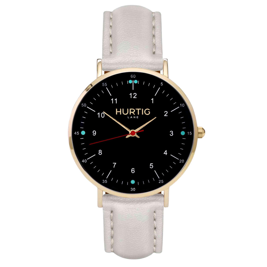 hurtig lane vegan leather watch gold,  black & grey vegane uhren