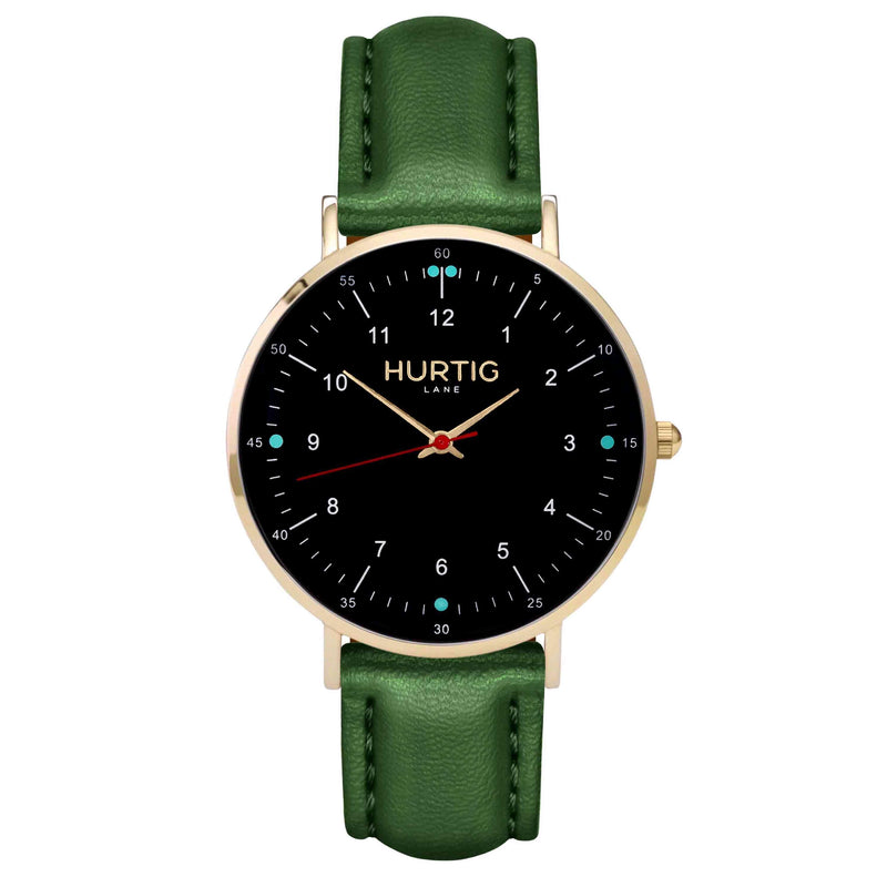 hurtig lane vegan leather watch gold, black & green vegane uhren