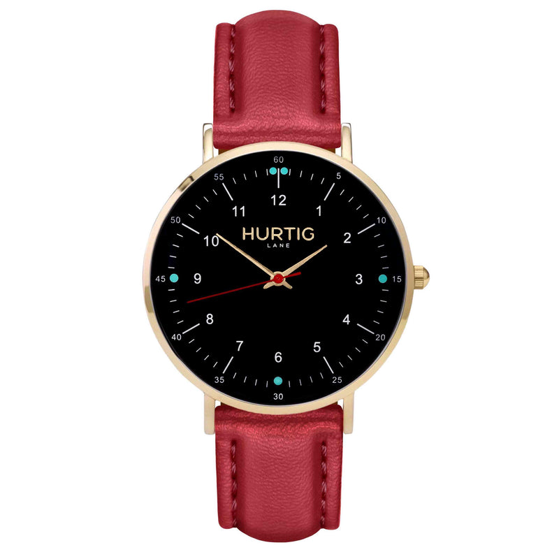 hurtig lane vegan leather watch gold,  black & red vegane uhren