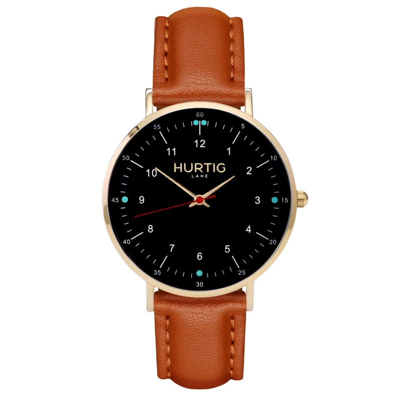 hurtig lane vegan leather watch gold, black & tan vegane uhren