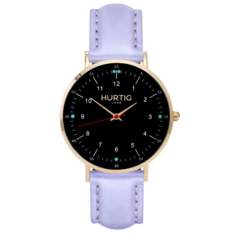 hurtig lane vegan leather watch gold,  black & lilac vegane uhren