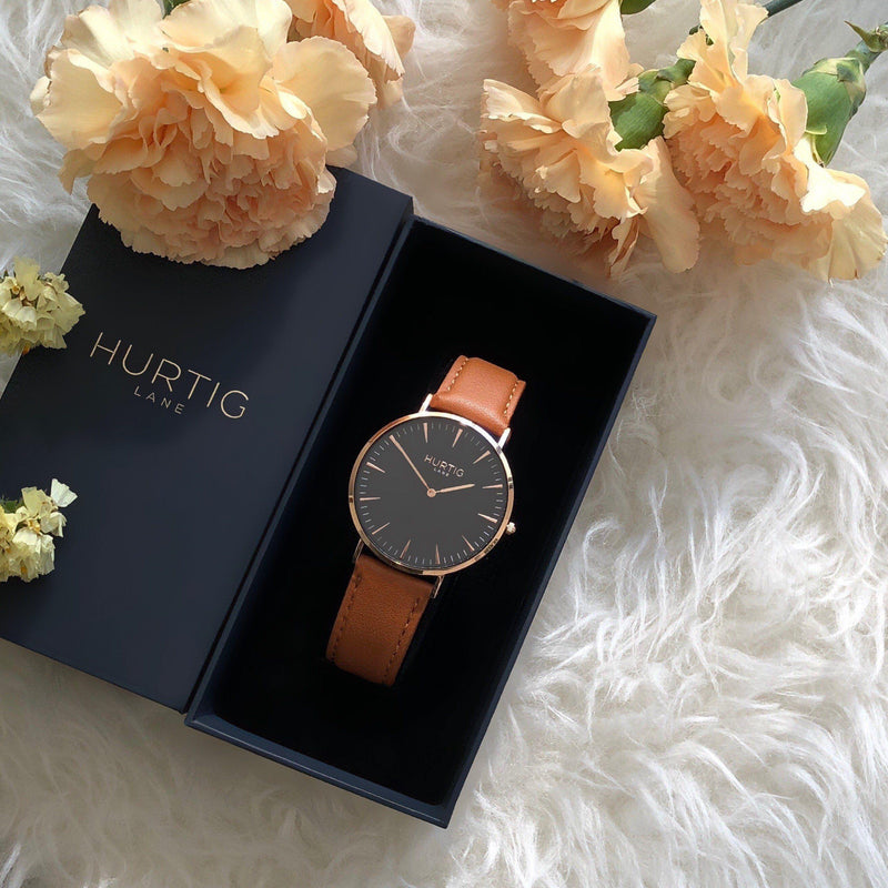 Mykonos Vegan Leather Rose Gold/Black/Tan - hurtig-lane-vegan-watches
