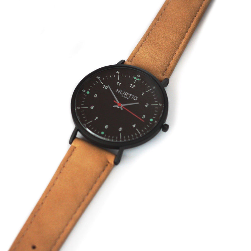 Moderna Vegan Suede Watch All Black/Camel