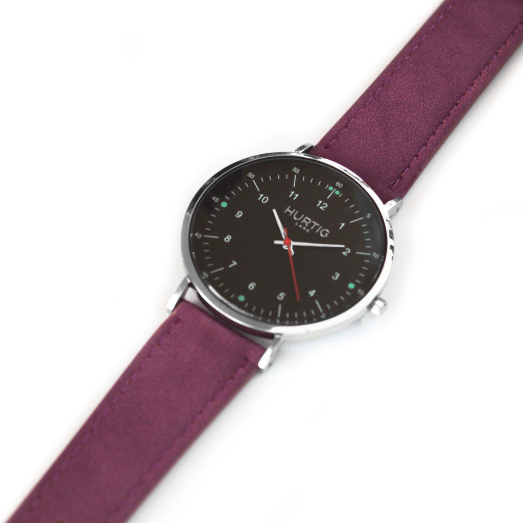 Moderna Vegan Suede Silver/Black/Berry - hurtig-lane-vegan-watches