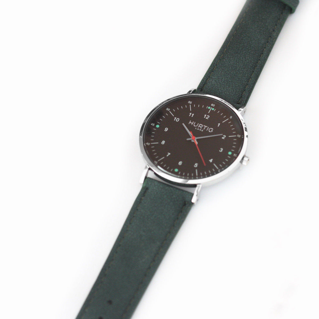 Moderna Vegan Suede Silver/Black/Forest Green - hurtig-lane-vegan-watches