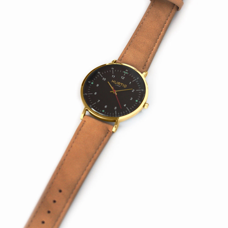 Moderna Vegan Suede Gold/Black/Sand - hurtig-lane-vegan-watches