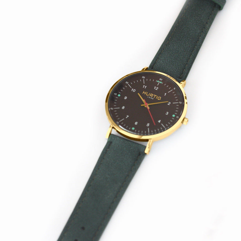 Moderna Vegan Suede Gold/Black/Forest Green - hurtig-lane-vegan-watches