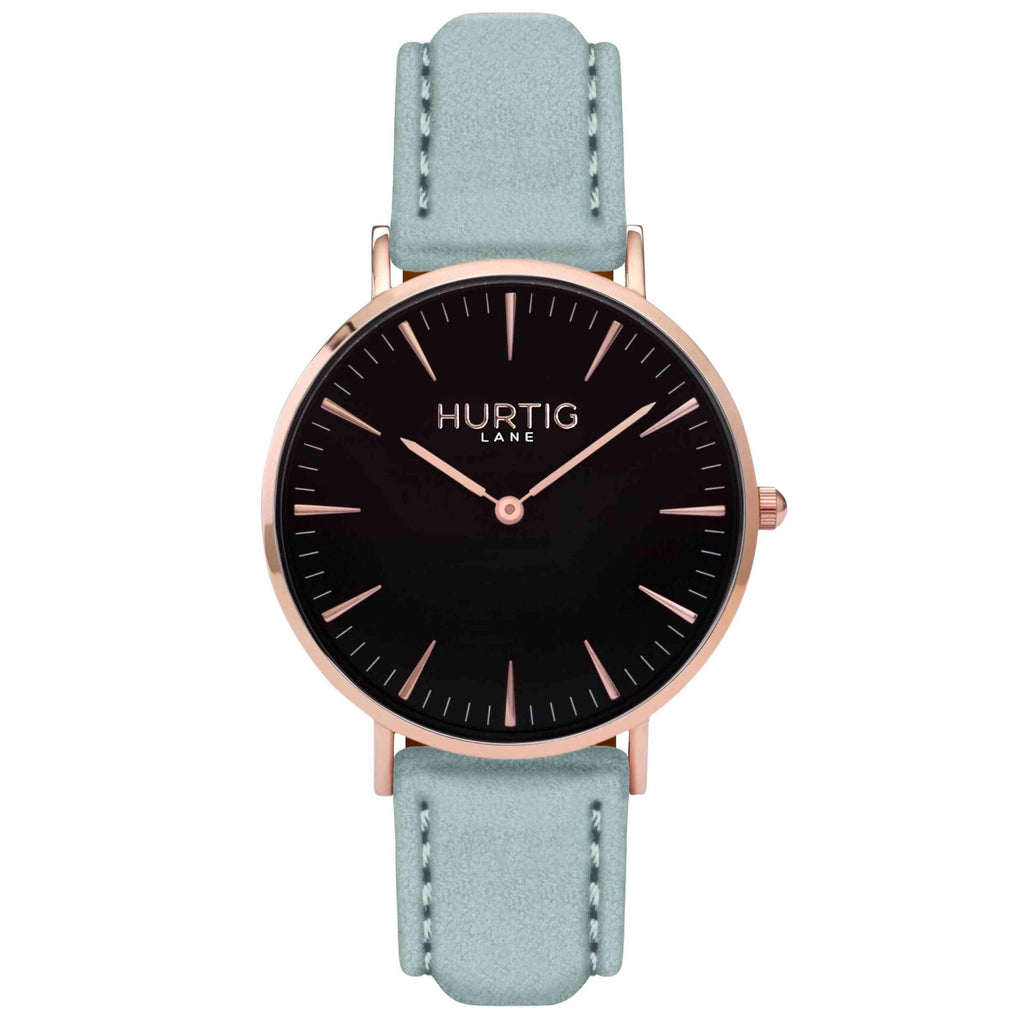 Hymnal Vegan Suede Watch Rose Gold, Black & Duck Egg - Hurtig Lane - sustainable- vegan-ethical- cruelty free