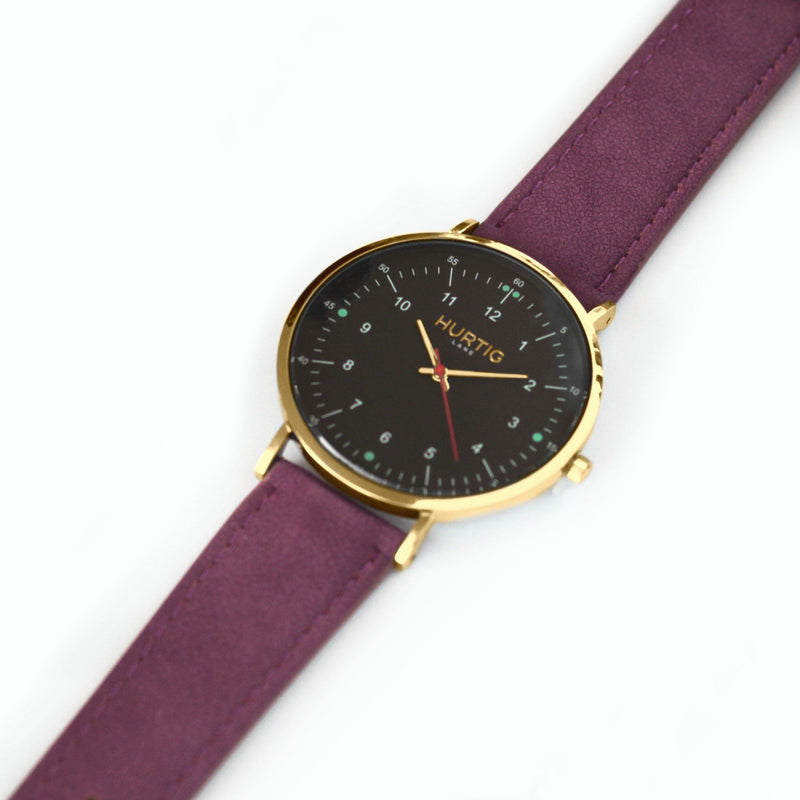Moderna Vegan Suede Gold/Black/Berry - hurtig-lane-vegan-watches