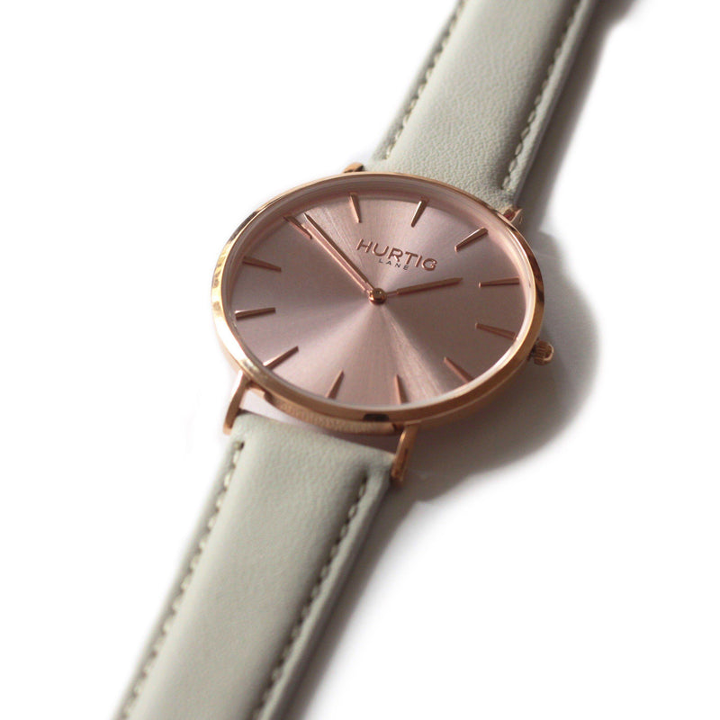 Mykonos Vegan Leather All Rose/Cloud Grey - hurtig-lane-vegan-watches