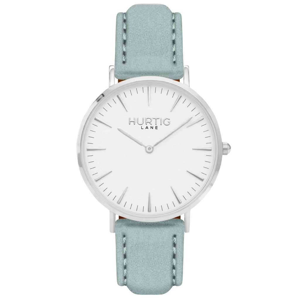 Hymnal Vegan Suede Watch Silver, White & Duck Egg - Hurtig Lane - sustainable- vegan-ethical- cruelty free