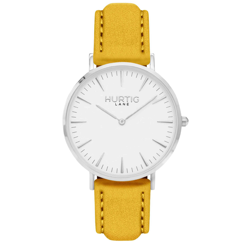 Hymnal Vegan Suede Watch Silver, White & Mustard - Hurtig Lane - sustainable- vegan-ethical- cruelty free