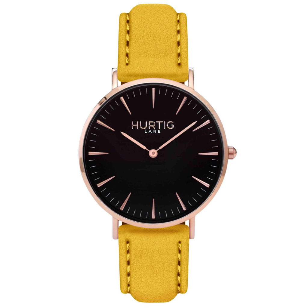 Hymnal Vegan Suede Watch Rose Gold, Black & Mustard Watch Hurtig Lane Vegan Watches