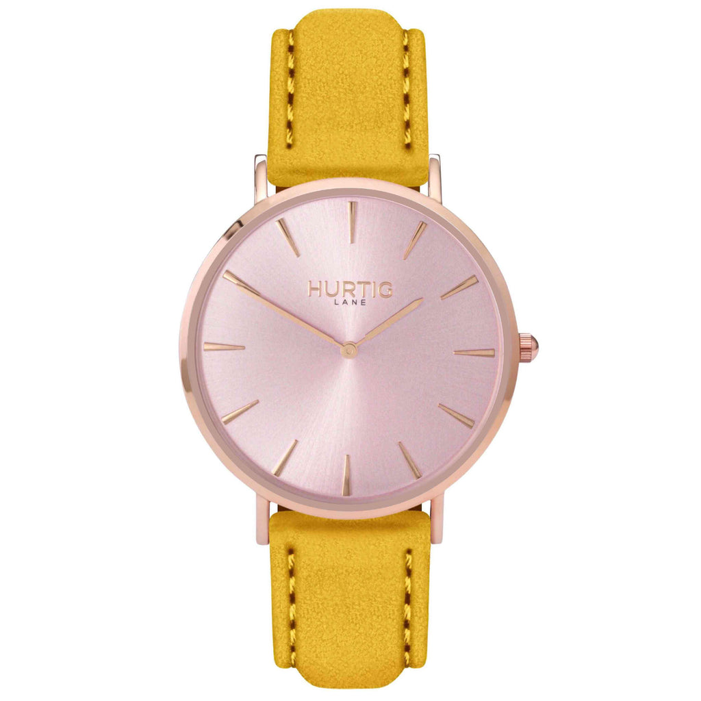 Hymnal Vegan Suede Watch All Rose Gold & Mustard - Hurtig Lane - sustainable- vegan-ethical- cruelty free