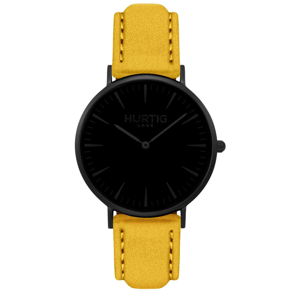 Hymnal Vegan Suede Watch All Black & Mustard - Hurtig Lane - sustainable- vegan-ethical- cruelty free