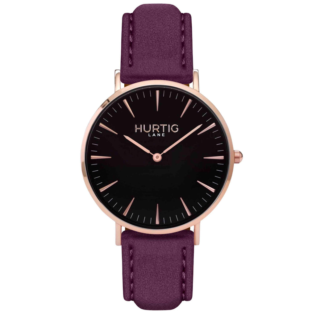 Hymnal Vegan Suede Watch Rose Gold, Black & Berry - Hurtig Lane - sustainable- vegan-ethical- cruelty free