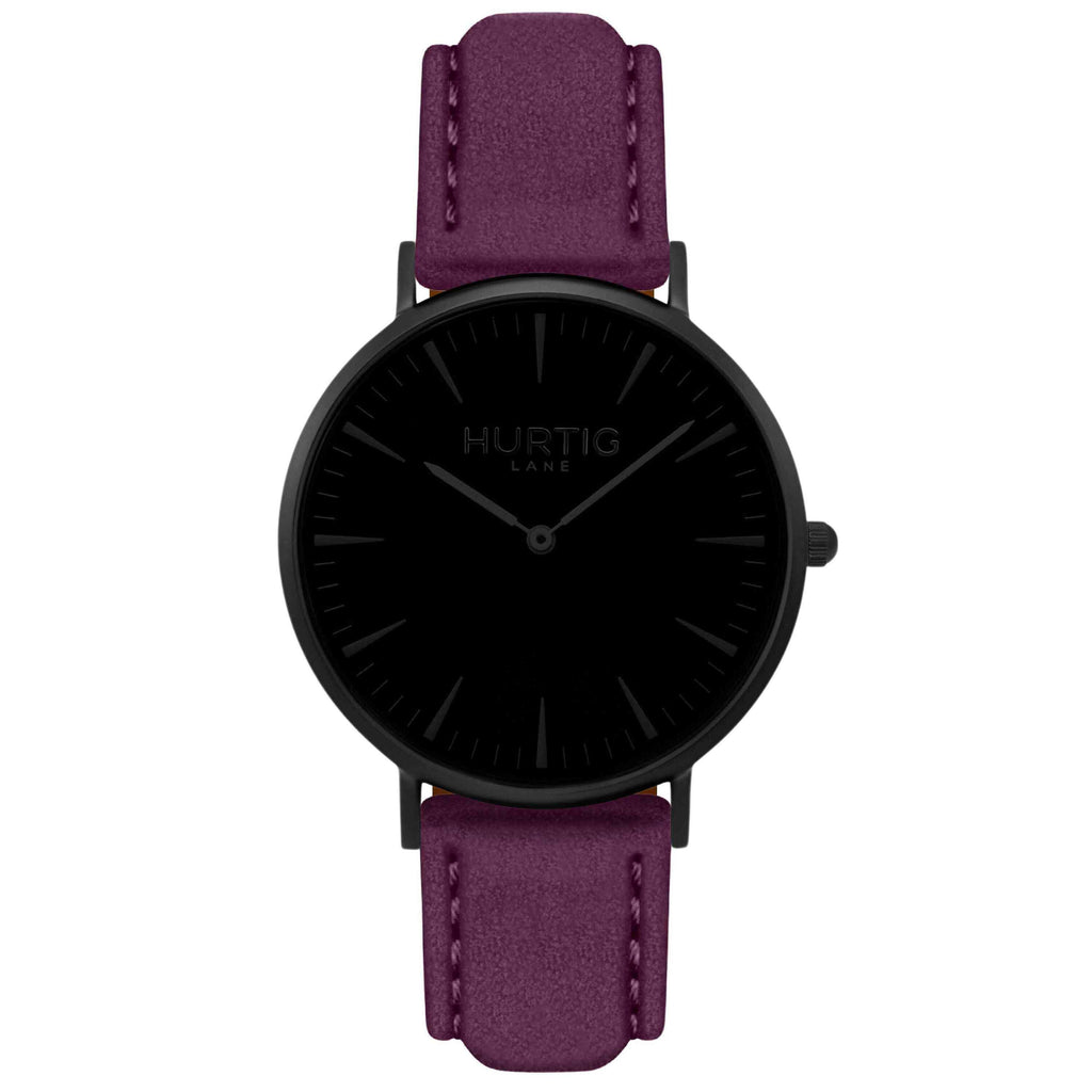 Hymnal Vegan Suede Watch All Black & Berry - Hurtig Lane - sustainable- vegan-ethical- cruelty free