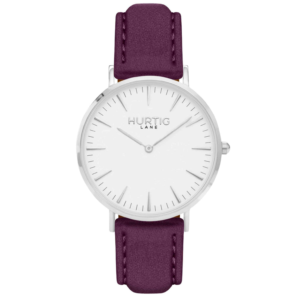 Hymnal Vegan Suede Watch Silver, White & Berry - Hurtig Lane - sustainable- vegan-ethical- cruelty free