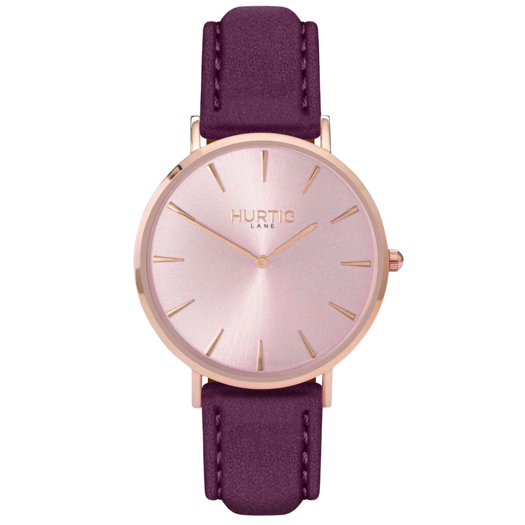 Hymnal Vegan Suede Watch All Rose Gold & Berry - Hurtig Lane - sustainable- vegan-ethical- cruelty free