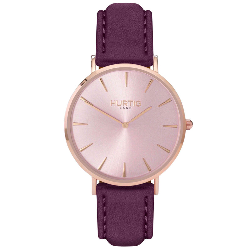 Hymnal Vegan Suede Watch All Rose Gold & Duck Egg - Hurtig Lane - sustainable- vegan-ethical- cruelty free