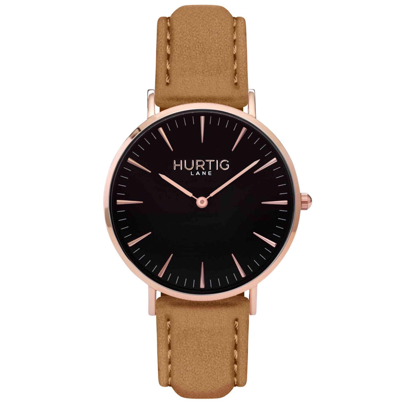 Hymnal Vegan Suede Watch Rose Gold, Black & Camel Brown - Hurtig Lane - sustainable- vegan-ethical- cruelty free