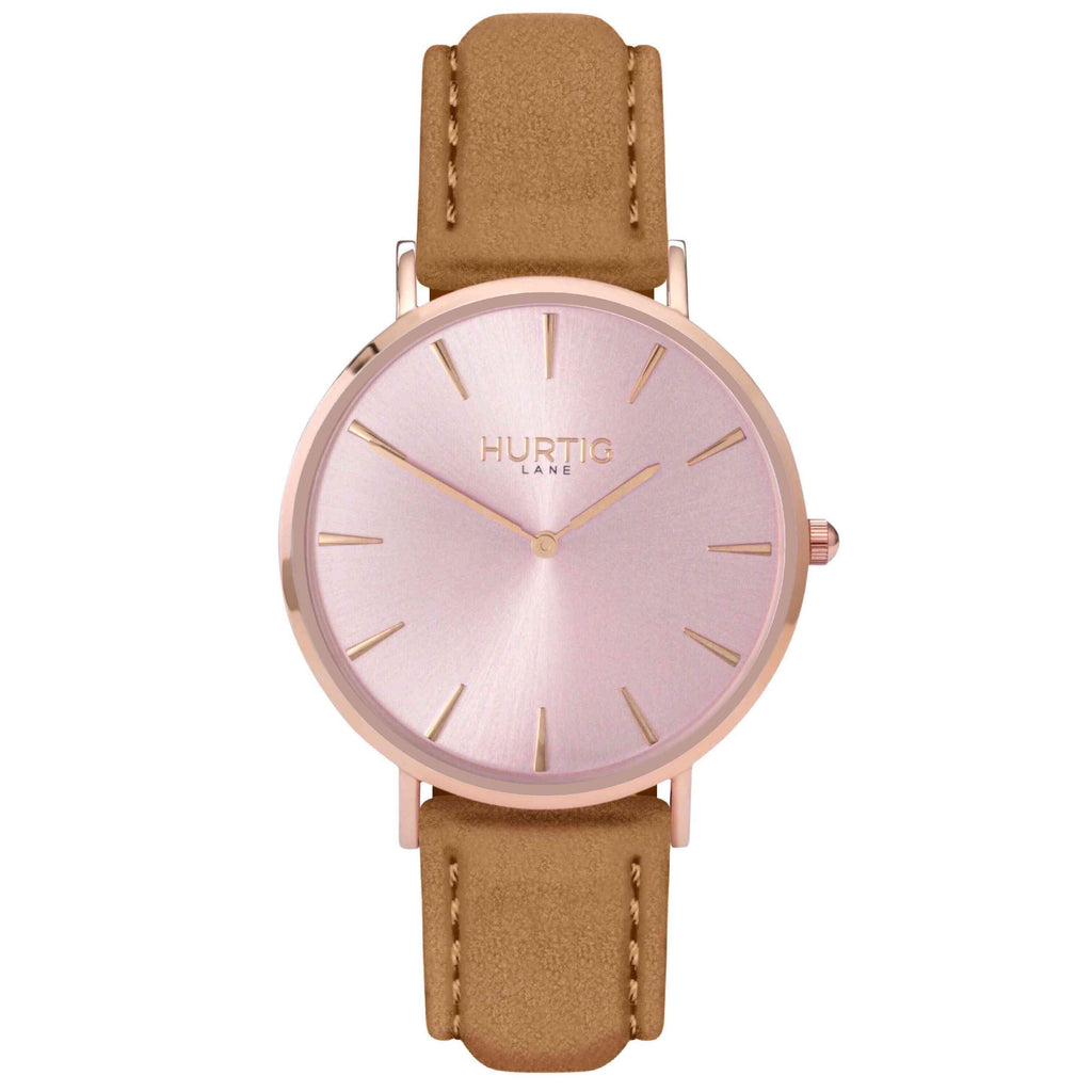 Hymnal Vegan Suede Watch All Rose Gold & Camel Brown - Hurtig Lane - sustainable- vegan-ethical- cruelty free